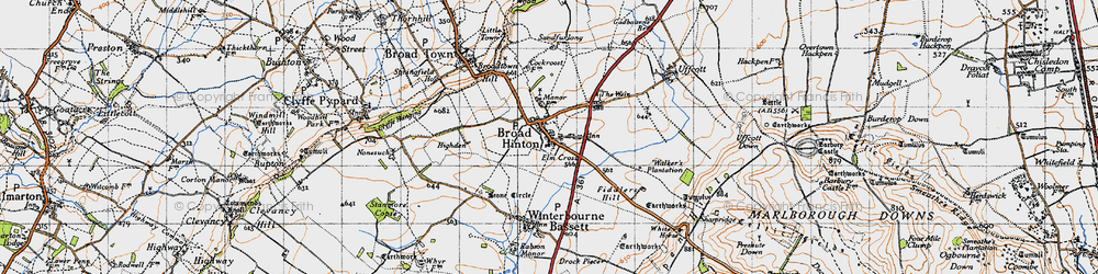 Old map of Broad Hinton in 1947