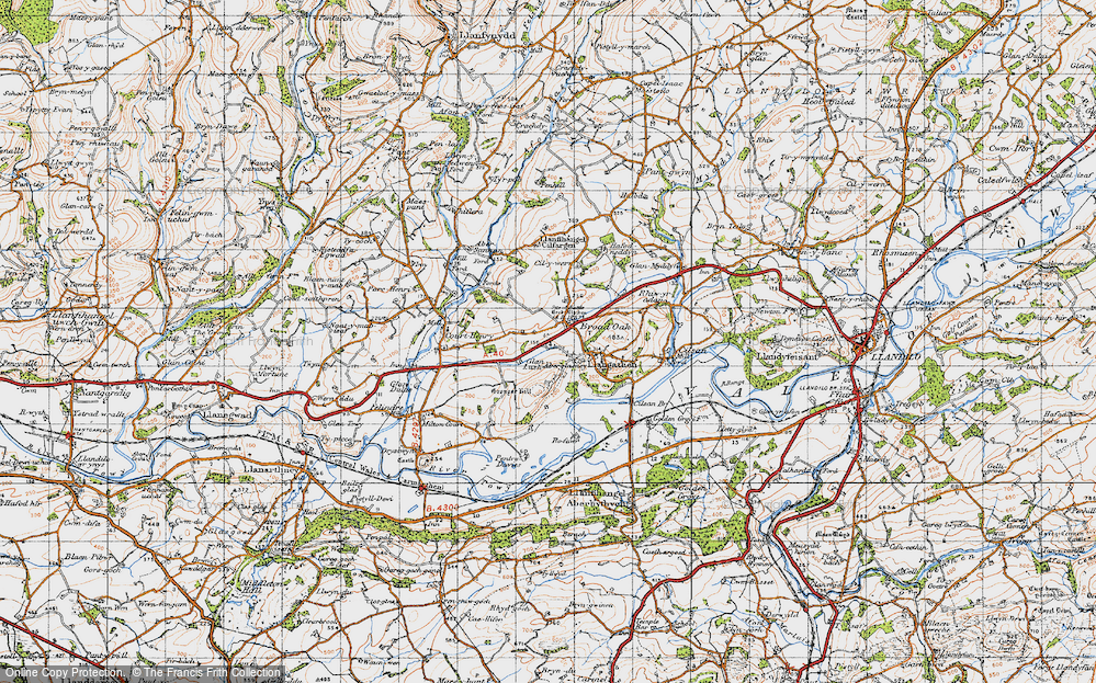 Old Map of Historic Map covering Lanlash in 1947