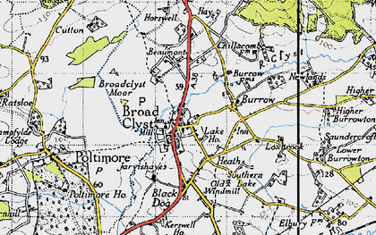 Old map of Broadclyst in 1946