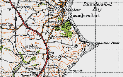Old map of Monkstone Point in 1946
