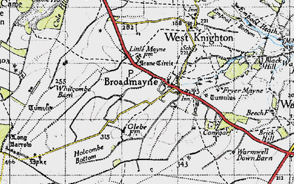 Old map of Whitcombe Barn in 1945