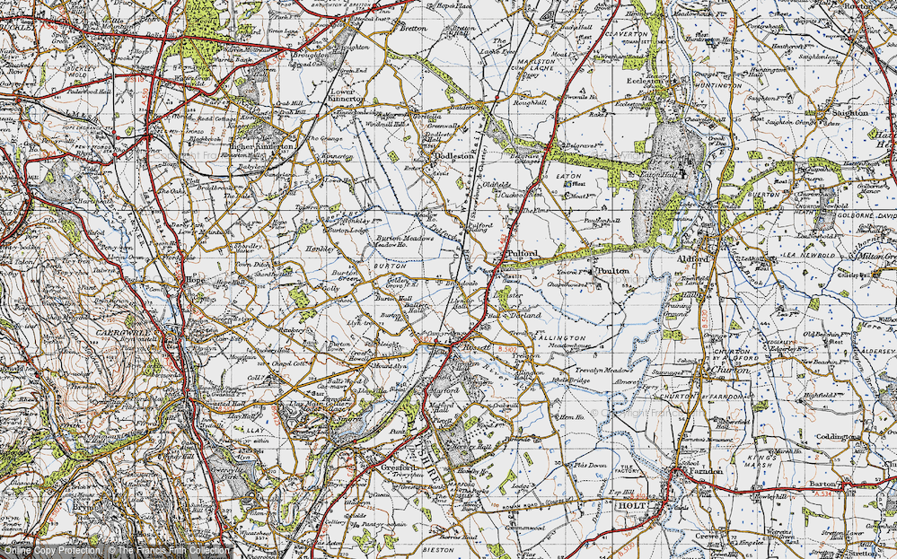 Old Map of Historic Map covering Ball's Hall in 1947