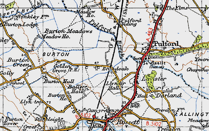 Old map of Ball's Hall in 1947
