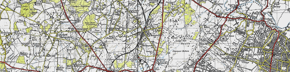 Old map of Broadstone in 1940