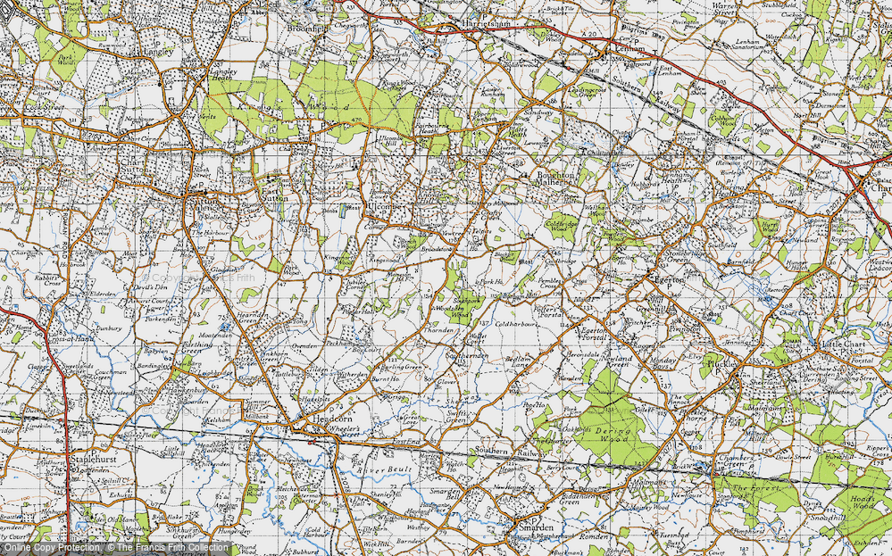 Old Map of Historic Map covering Woodsden in 1940