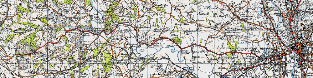 Old map of Broadwas in 1947