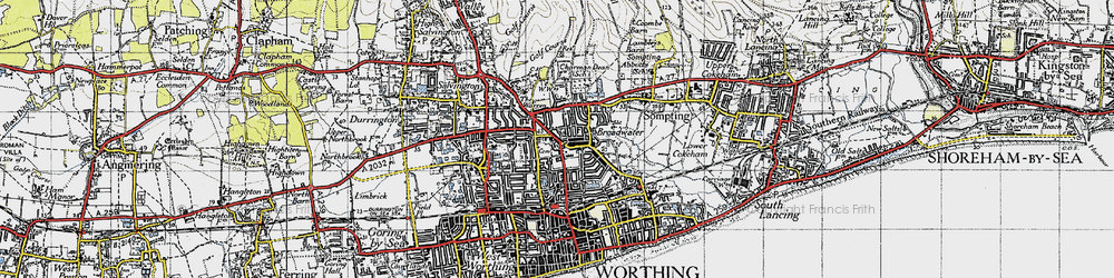 Old map of Broadwater in 1940