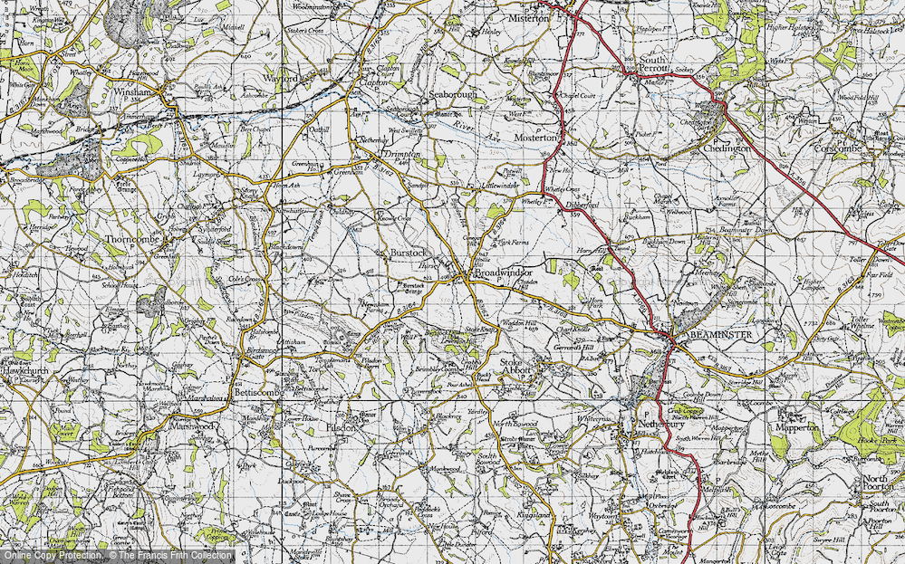 Old Map of Historic Map covering Lewesdon Hill in 1945