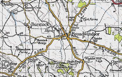 Old map of Lewesdon Hill in 1945