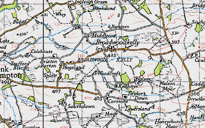 Old map of Woodcroft in 1946