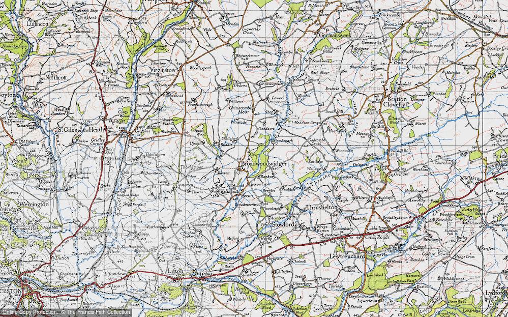 Old Map of Broadwoodwidger, 1946 in 1946