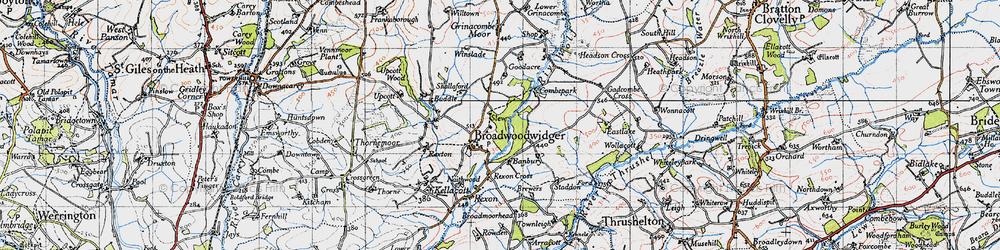 Old map of Broadwoodwidger in 1946