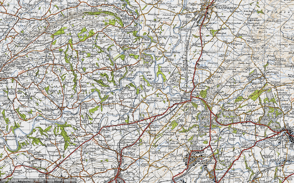 Old Map of Historic Map covering Aspinalls in 1947