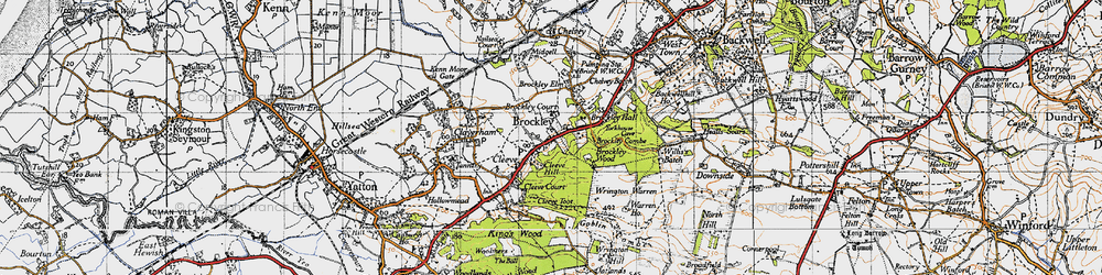 Old map of Wrington Warren in 1946