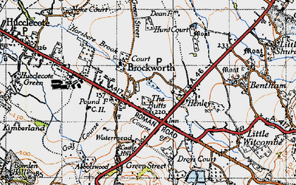 Old map of Brockworth in 1946