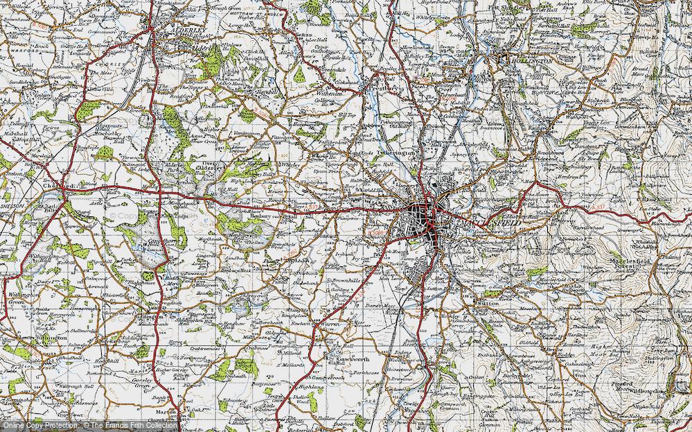 Old Map of Broken Cross, 1947 in 1947