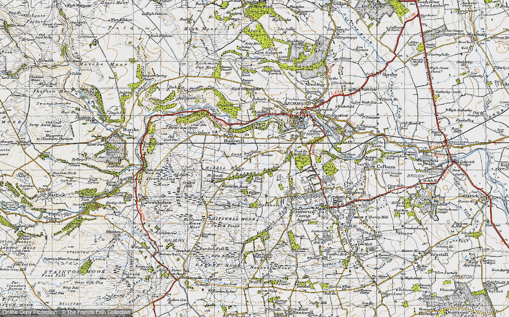 Old Map of Historic Map covering Badger Beck in 1947