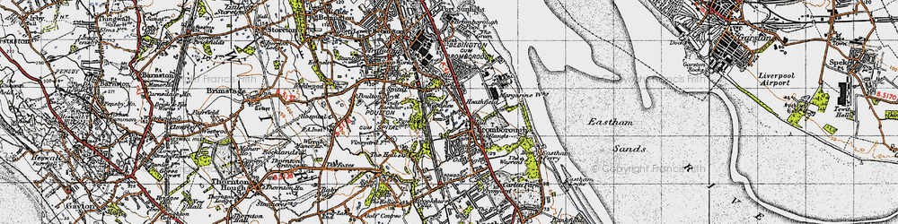 Old map of Bromborough in 1947