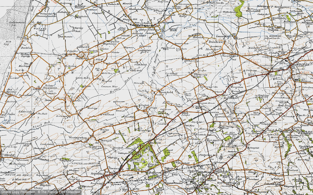 Old Map of Historic Map covering Langrigg Beck in 1947