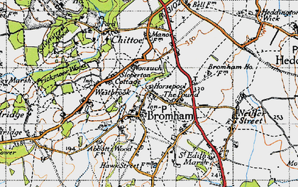 Old map of Bromham in 1940