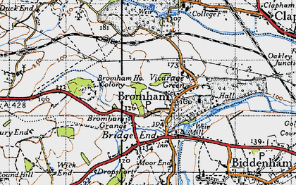 Old map of Bromham in 1946