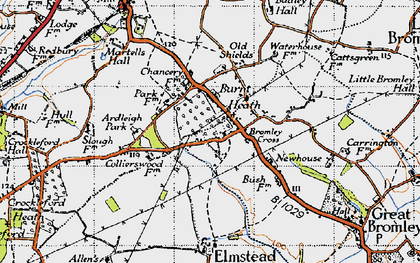 Old map of Ardleigh Park in 1945