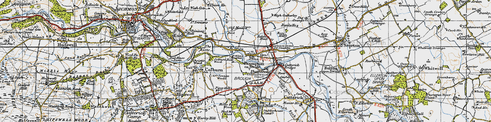 Old map of Brompton-on-Swale in 1947