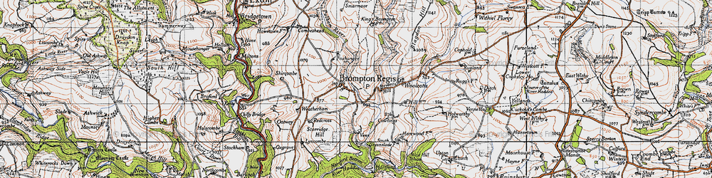Old map of Wimbleball Lake in 1946