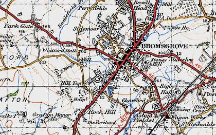 Old map of Bromsgrove in 1947