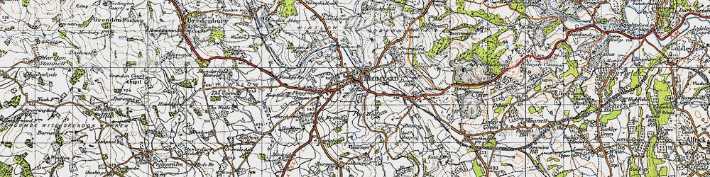 Old map of Bromyard in 1947