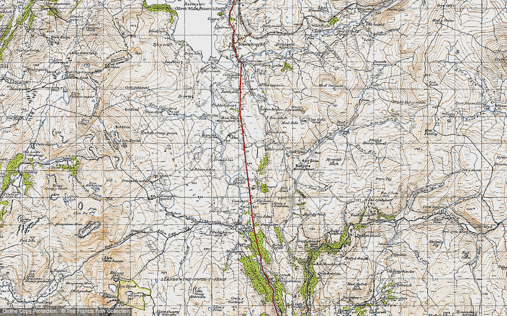 Old Map of Historic Map covering Afon Gain in 1947