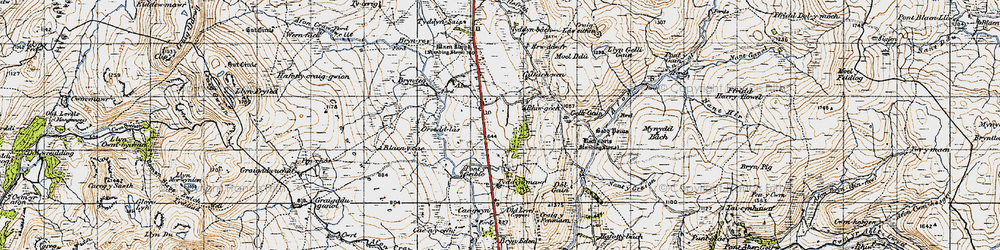 Old map of Afon Gain in 1947