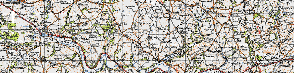 Old map of Abergwrog in 1947