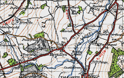 Old map of Bronllys in 1947