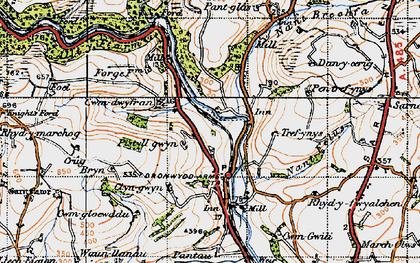 Old map of Bronwydd in 1946