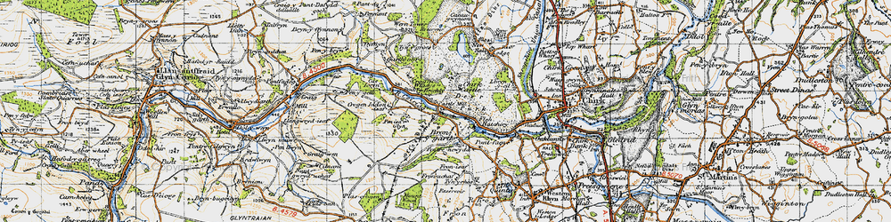 Old map of Bronygarth in 1947