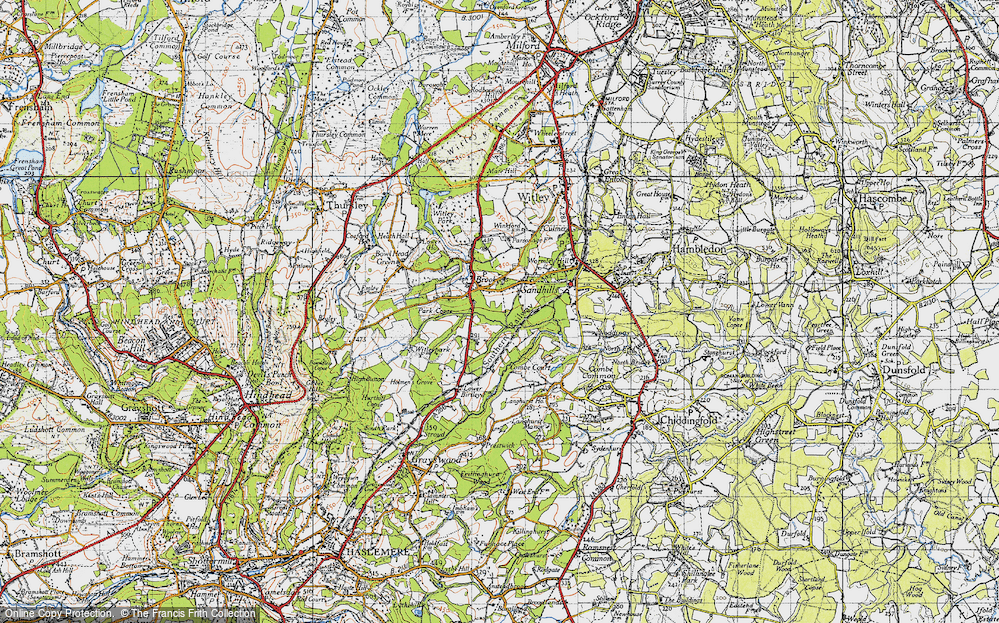 Old Map of Historic Map covering Witley Sta in 1940