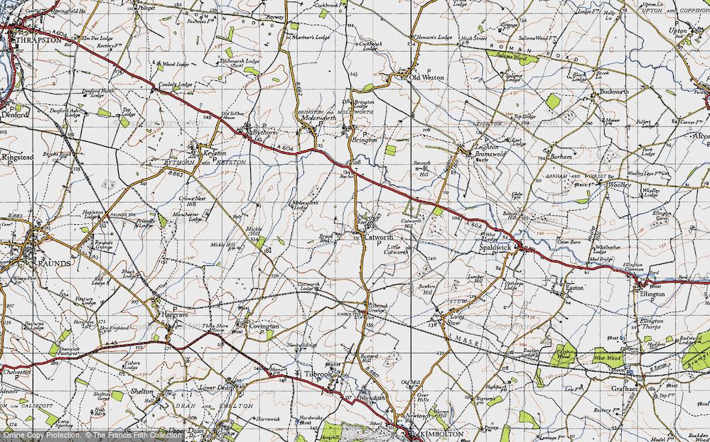 Old Map of Historic Map covering Tilbrook Grange in 1946