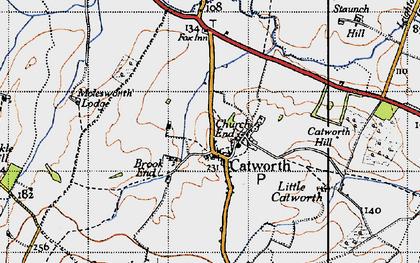 Old map of Tilbrook Grange in 1946