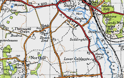 Old map of Brook End in 1946