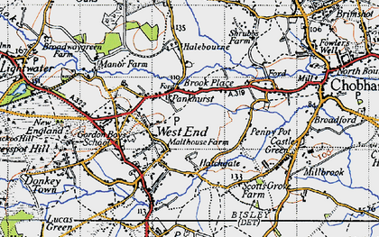 Old map of Brook Place in 1940