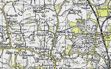 Old map of Wetlands Woods in 1940