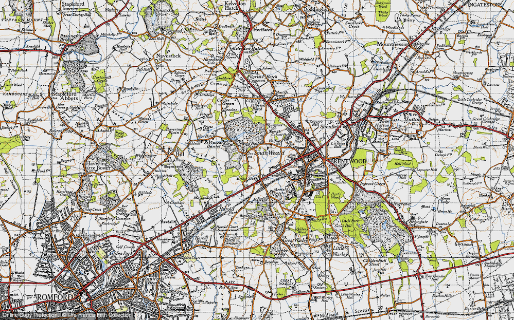Old Map of Historic Map covering Langtons in 1946