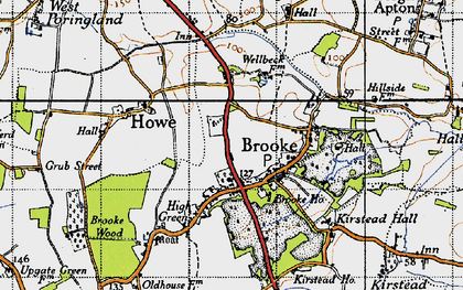Old map of Brooke in 1946