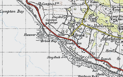 Old map of Hanover Point in 1945