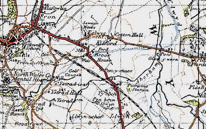 Old map of Ystrad-isaf in 1947