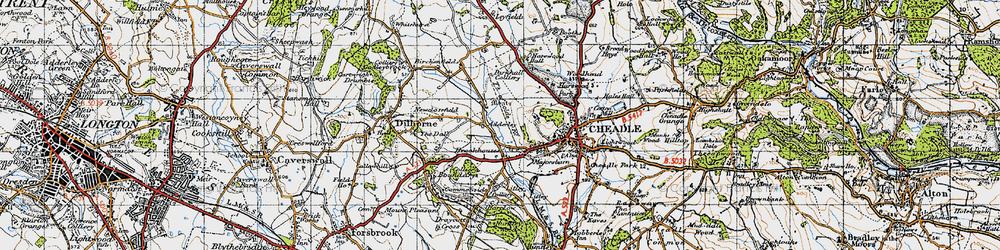 Old map of Adderley in 1946