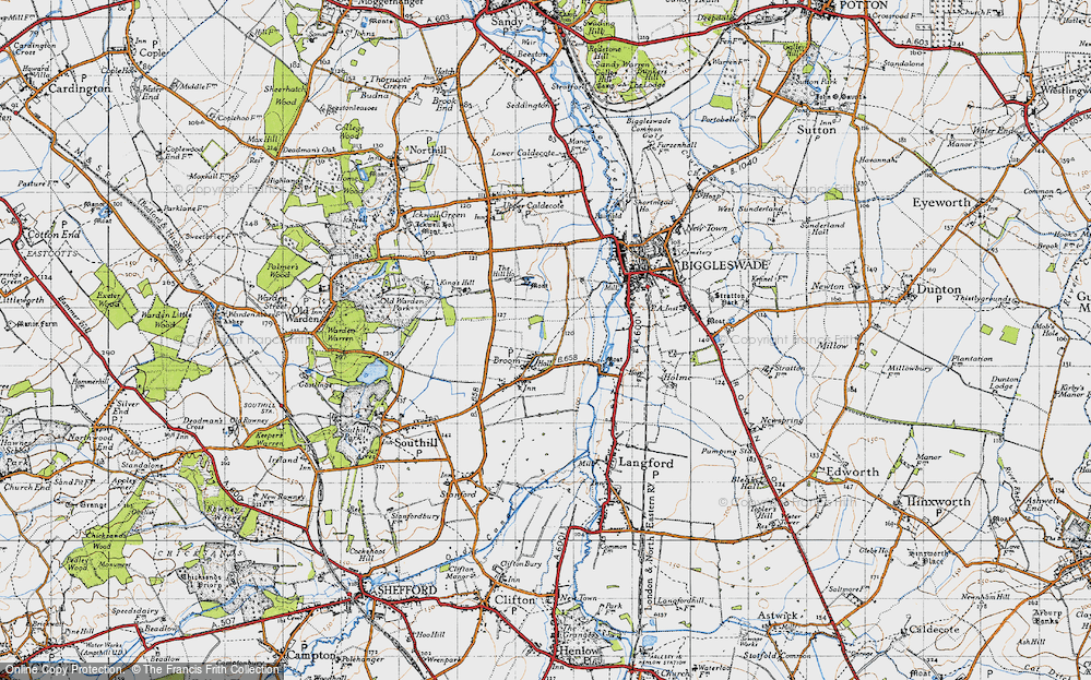Old Map of Broom, 1946 in 1946