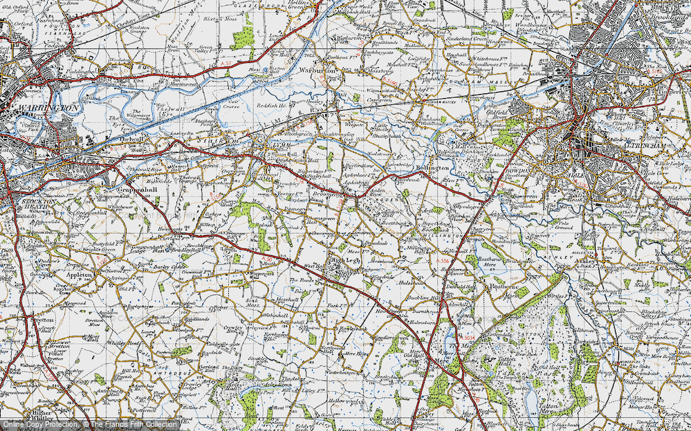 Old Map of Historic Map covering Agden Brow in 1947