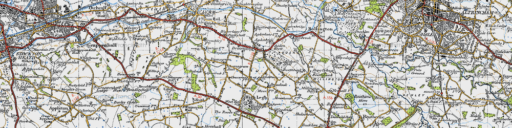 Old map of Broomedge in 1947